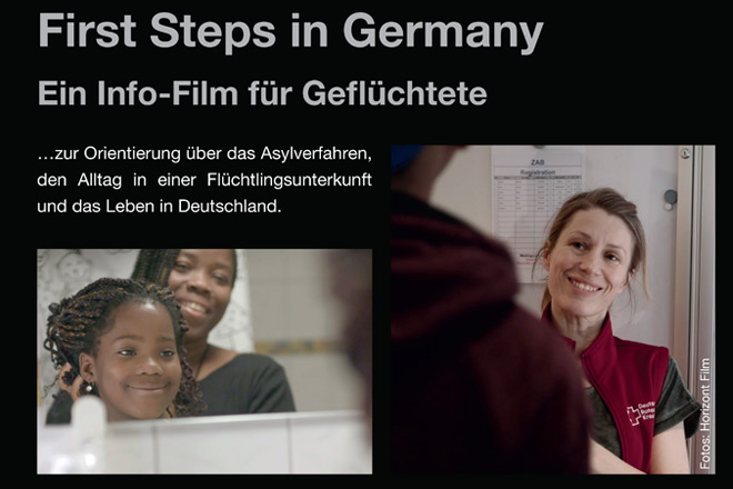 "Ausschnitt des Filmplakates ""First Steps in Germany""."